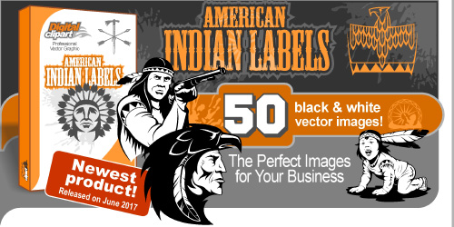 American Indians Labels  - Vector Clipart