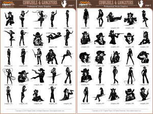 Cowgirls and Gangsters   - Vector Clipart