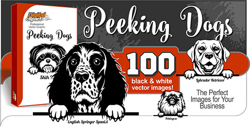 Peeking Dogs  - Vector Clipart