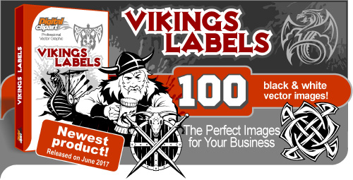 Vikings Labels   - Vector Clipart